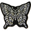 Silver Butterfly Rhinestone Helmet Patch