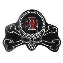 Skull Crossbones Rhinestone Helmet Patch