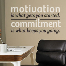 Wall Quotes, Wall Lettering - Motivation &amp; Commitment Wall decal