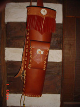 with pouch russet, russet fringe, natural rawhide lacing