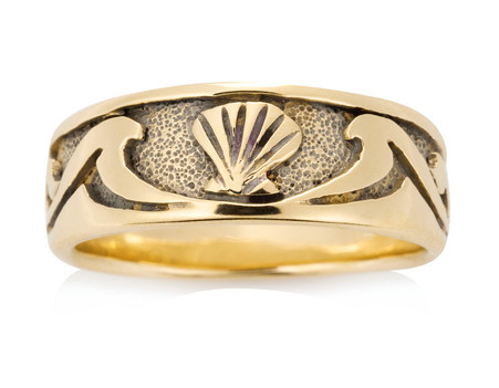 Mens Seashell Wave Ring David Virtue Jewelry