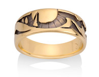 Mens Mountain Trees Sun Ring David Virtue Jewelry