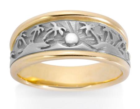 Mens Tropical Palm Tree Ring David Virtue Jewelry