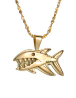 Toothy Grin on a Big Fish Pendant in 14k Yellow Gold David Virtue Jewelry