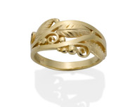 Wide Filigree and Leaf Ring David Virtue Jewelry