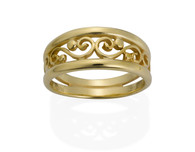 Scroll Filigree Ring shown in 14k Yellow Gold David Virtue Jewelry