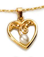 Pearl Drop Heart Pendant David Virtue Jewelry