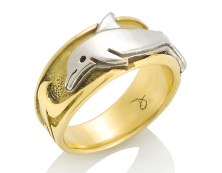 mens wave dolphin ring david virtue jewelry - Dolphin Wedding Rings