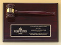 Rosewood Stained Piano Finish Gavel Plaque, Laser engraved