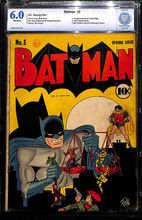 Batman #5 (1941) CBCS 6.0 Fine Unrestored 1st Linda Page, Joker app