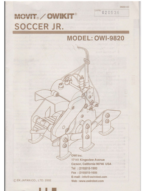Soccer Jr Robot Manual