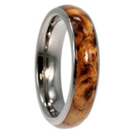 5 mm Titanium with 4 mm Black Ash Burl Wood Inlay - B444M