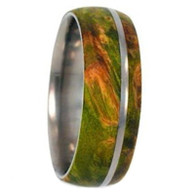 8 mm Titanium with 7 mm Green Box Elder Burl Wood Inlay - G333M