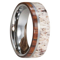 8 mm Titanium with Ironwood and Deer Antler Inlay - I664M
