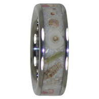 8 mm Unique Mens Wedding Bands in Sea Shell Inlay, Titanium - X999H
