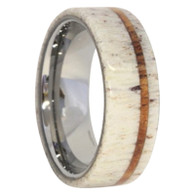 8 mm Antler Mens Wedding Bands, Oak Inlay - D494M