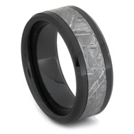 8 mm Unique Mens Wedding Bands with Black Ceramic/Meteorite - BC166M