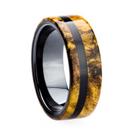 8 mm Unique Mens Wedding Bands - Black Ceramic & Ebony Inlay - BC491M