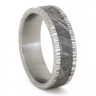 7 mm Titanium with Damascus Steel and Gibeon Meteorite Wedding Ring - D779M