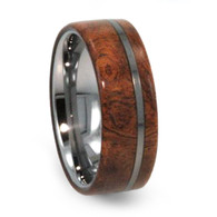 8 mm Exotic Wood Mens Wedding Bands in Tungsten - T220M