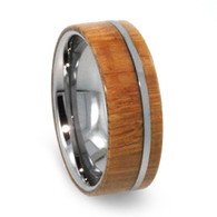 8 mm Exotic Wood Mens Wedding Bands in Tungsten - T262M