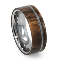8 mm Tungsten Mens Wedding Rings with Wood - T036M