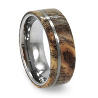 8 mm Buckeye Burl Wood Mens Wedding Bands in Tungsten - T233M