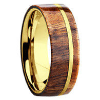 8 mm - 14 kt. Yellow Gold & Hawaiian KOA Wood Inlay - G109M