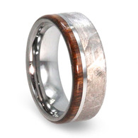 8 mm Meteorite/Ironwood Mens Wedding Bands in Tungsten - T427M