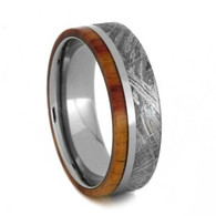 7 mm Meteorite/Tulipwood Mens Wedding Bands in Titanium - TM852M