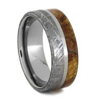 8 mm Meteorite/Burl wood Mens Wedding Bands in Titanium - MB846M