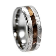 7 mm Titanium with Petrified Wood and Gibeon Meteorite Wedding Ring - PW110M