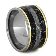 11 mm Stardust and Meteorite Wedding Band with 14 Kt. Gold - SD862M