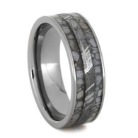 7 mm Meteorite/Crushed Antler Mens Wedding Bands in Titanium - CA208M