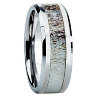 8 mm Antler Mens Wedding Bands in White Gold  - W8G121M