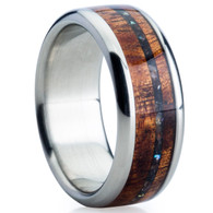 9 mm Unique Bands -  Dark KOA Wood and Pearl Inlay - BP777JH