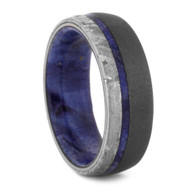 7 mm Meteorite with Blue Box Elder Sleeve in Sandblasted Titanium - BBE496M