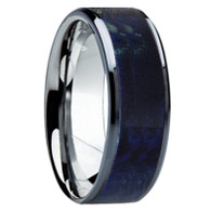 8 mm Unique Mens Wedding Bands - Tungsten & BlueBE Wood - TT111M