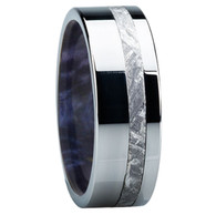 8 mm Meteorite Mens Wedding Bands in wood/Titanium - E118M-Blue