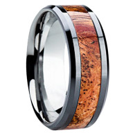 8 mm Titanium with Asian Sindora Wood Inlay - S114M