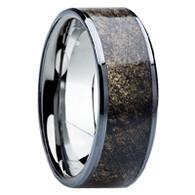 8 mm Unique Mens Wedding Bands - Titanium & Buckeye Wood - B115M