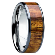 8 mm Unique Mens Wedding Bands in Titanium with 6 mm Hawaiian KOA Wood Inlay - K121M