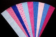 "Pink Blue Fabric Jelly Roll Strip Pack -20 Strips, Die Cut 100% top quality cotton fabric. 10 Different fabrics, 2 strips of each. Strips measure 2.5"" x width of fabric (42/44"" approx). Strips are folded and shipped flat."