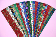 "20 Different Christmas Fabrics with Metallic Highlights in Every Strip 100% top quality cotton fabric. 20 Different fabrics, 1 strip of each. Strips measure 2.5"" x width of fabric (42/44"" approx). Strips are folded and shipped flat."