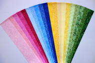 Fabric Jelly Roll Quilt Strip Pink Blue Yellow Green Cotton Die Cut No Duplicates (JR120-PBYGbd)