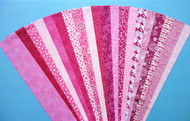 "Pink Fabric Jelly Roll Strip Pack -20 Strips, Die Cut, No Duplicates. 100% top quality cotton fabric. 20 Different fabrics, 1 strip of each. Strips measure 2.5"" x width of fabric (42/44"" approx). Strips are folded and shipped flat."