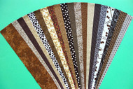 "Chocolate Brown Fabric Jelly Roll Strip Pack -20 Strips, Die Cut, No Duplicates. 100% top quality cotton fabric. 20 Different fabrics, 1 strip of each. Strips measure 2.5"" x width of fabric (42/44"" approx). Strips are folded and shipped flat"