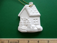 "White plaster ornament - Gingerbread House - ready for painting. Includes gold hanging cord - 3"" approx"