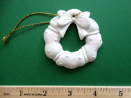 "White plaster ornament - Wreath - ready for painting. Includes gold hanging cord - 3"" approx"