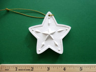 "White plaster ornament - 5 - Pointed Star - ready for painting. Includes gold hanging cord - 3"" approx"